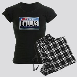 Texas License Plate [DALLAS] Women's Dark Pajamas